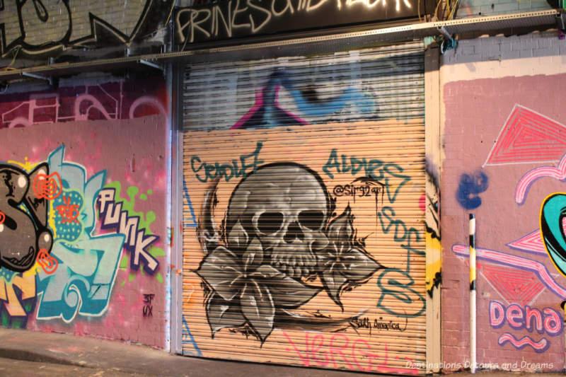 Wall of graffiti art in Leake Street Tunnel