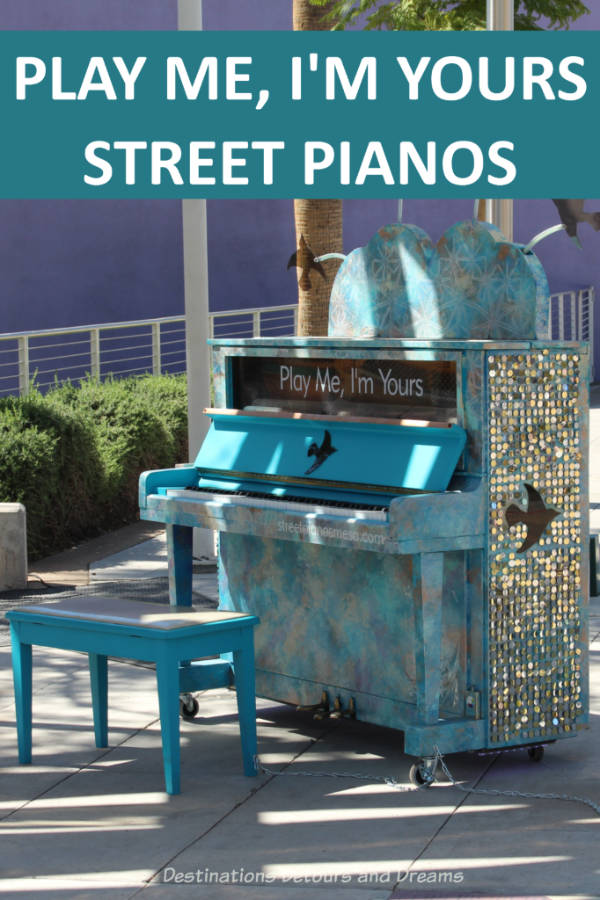 The PLAY ME, I'M YOURS exhibition  brings playable pianos onto city streets across the world. See some examples for an exhibition in Mesa, Arizona #art #StreetPianos