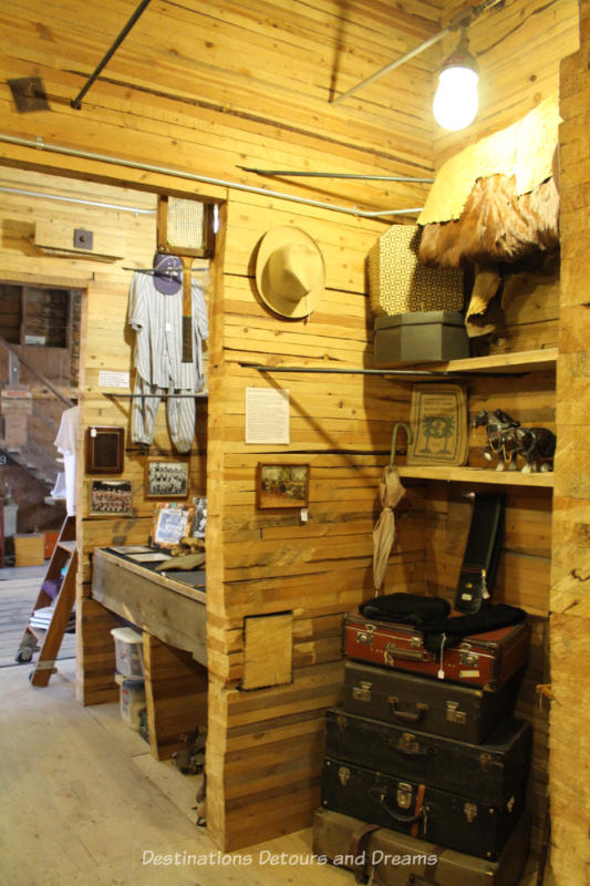 Display areas at the Prairieview Museum in former bins of the old grain elevator