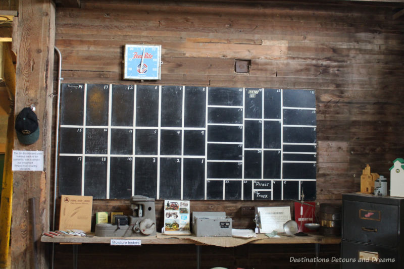 Chalkboard used to keep track of what was in each grain elevator bin at Prairieview Museum