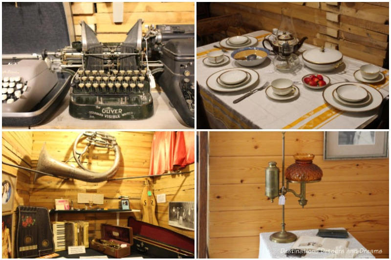 Collage of displays (typewrite, dinner tables, musical instruments, old lamp) at the Prairieview Museum