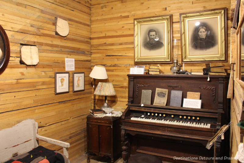Old organ and other parlour artifacts at the Prairieview Museum