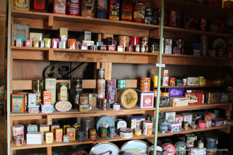 Collection of tin cans at Prairieview Museum
