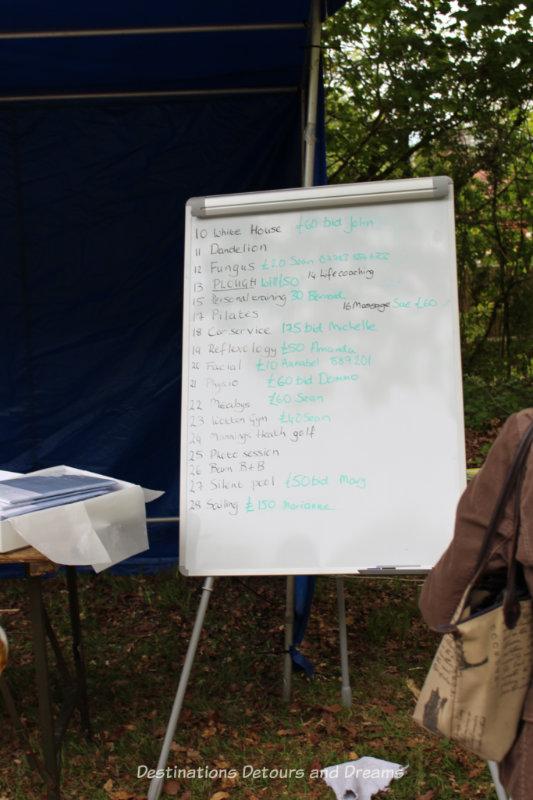 Auction board at an English village fête