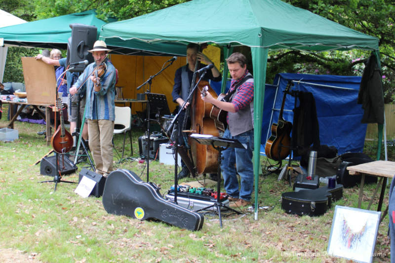 Three-piece band playing at an English village fête