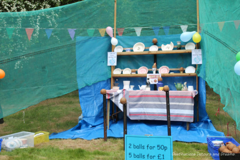 Crockery smashing stall at an English village fête