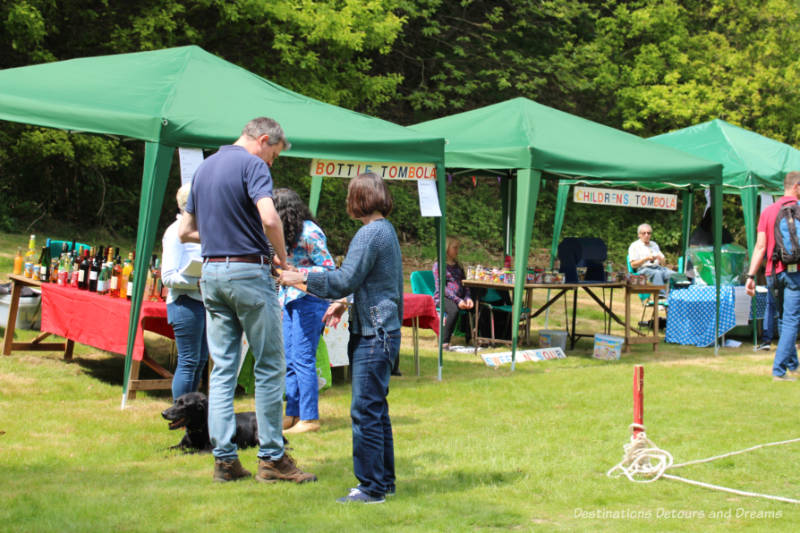 Tombola booths at an English village fête