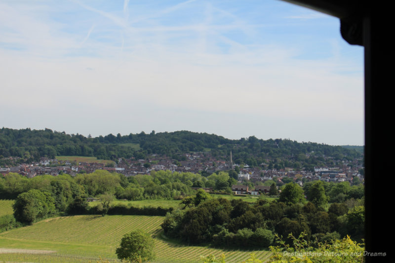 Looking into the valley and the town of Dorking, Surrey
