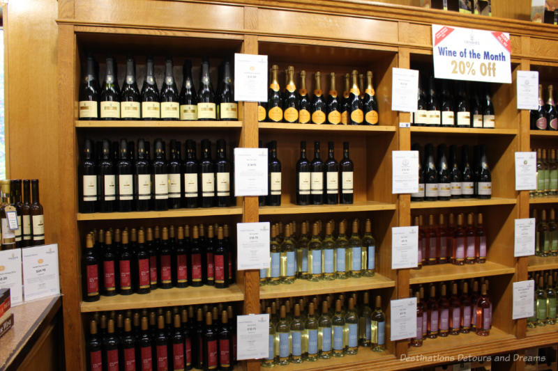 Shelves of wine at Denbies Wine Estate