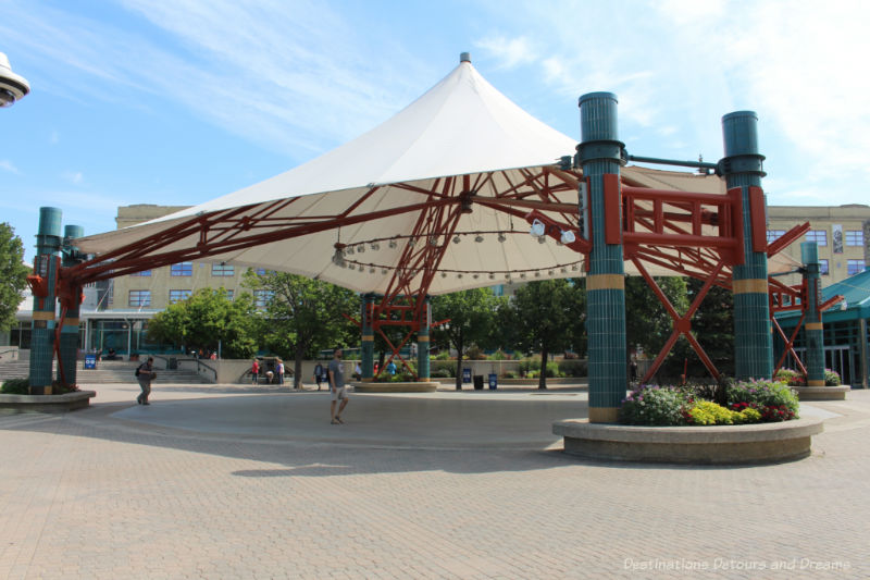 Canopy covering the central area of the plaza area just outside The Forks Market