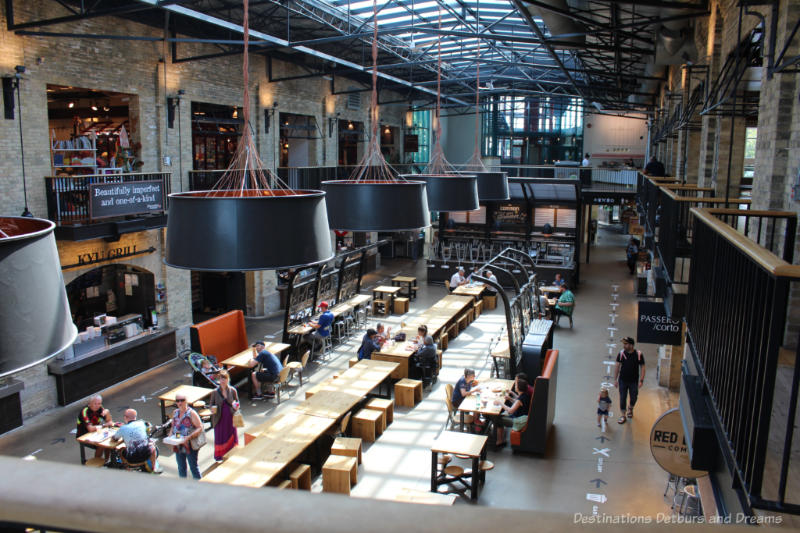 Contemporary food hall courtyard in The Forks Market