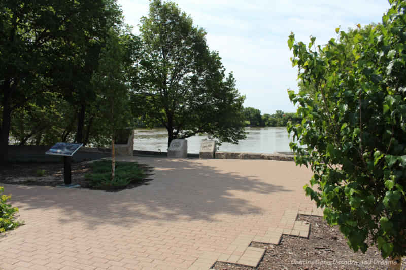 Patio stoned area overlooking the river at The Forks