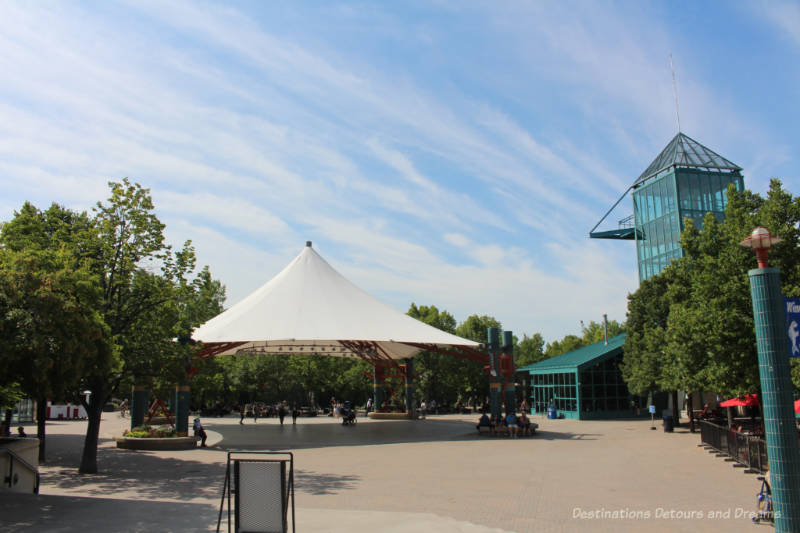The Forks Market Tower and the Canopy in The Forks Market Plaza at The Forks, Winnipeg, Manitoba