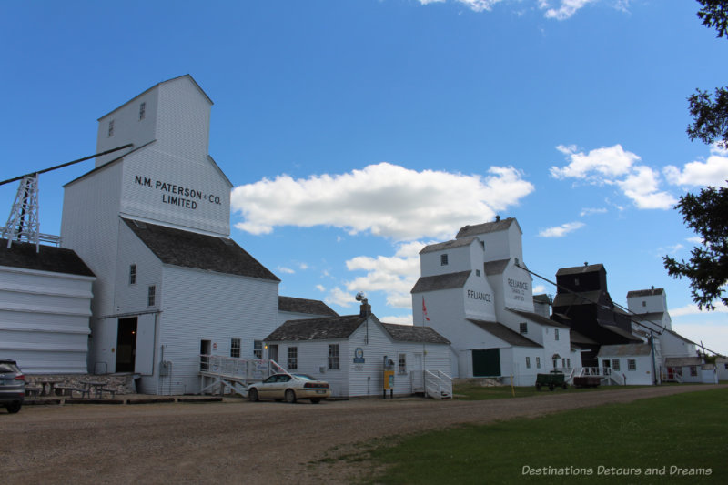 Row of five historic grain elevators in Inglis, Manitoba