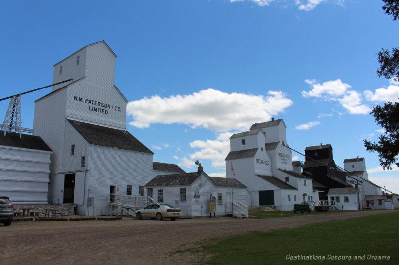 Row of five historic grain elevators in Inglis, Manitoba