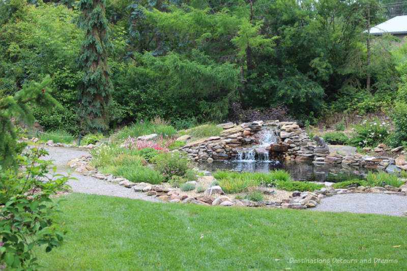 Waterfall in the Patrick Seymour Alpine Garden at U of A Botanic Garden