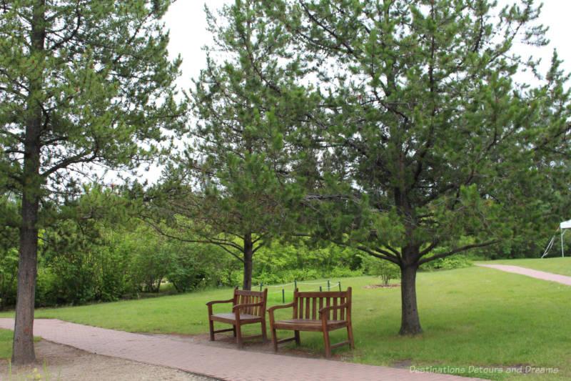 Benches under trees at the University of Alberta Botanic Garden