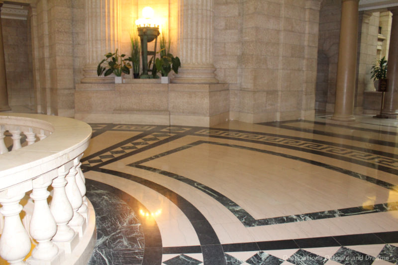 Black and white marble floor of the Manitoba Legislative Building