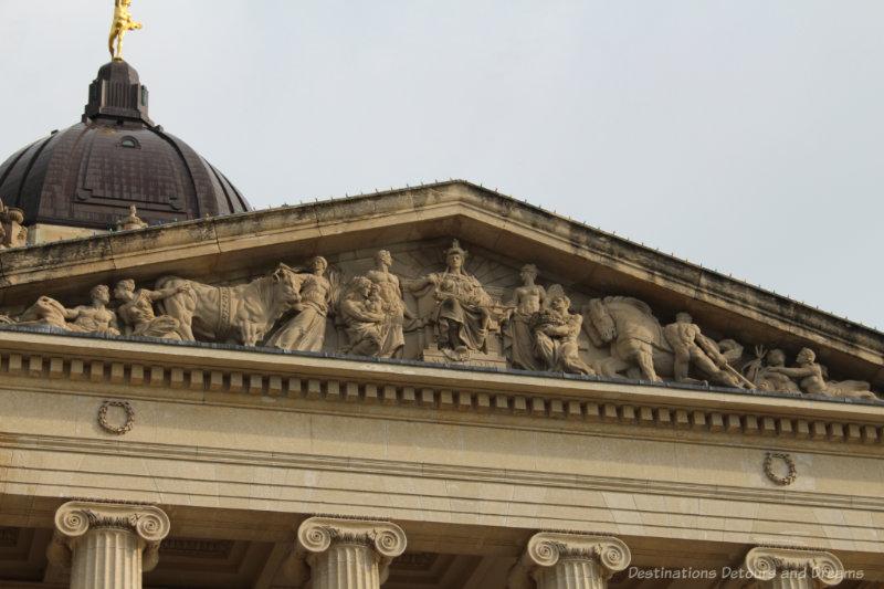 Carved pediment on the Manitoba Legislative Building