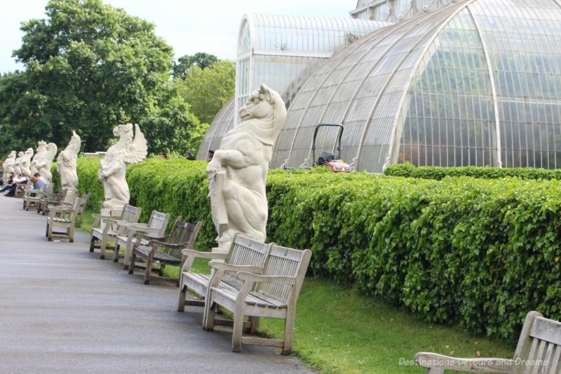 Heralidic statues of creatures representing Queen Elizabeth II royal ancestry at Kew Gardens