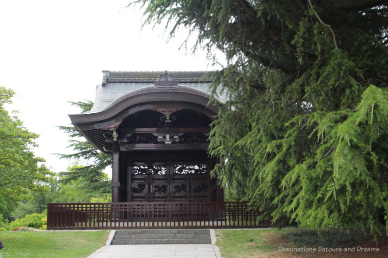 Carved wood Japanese temple framed by conifer branches at Kew Gardens