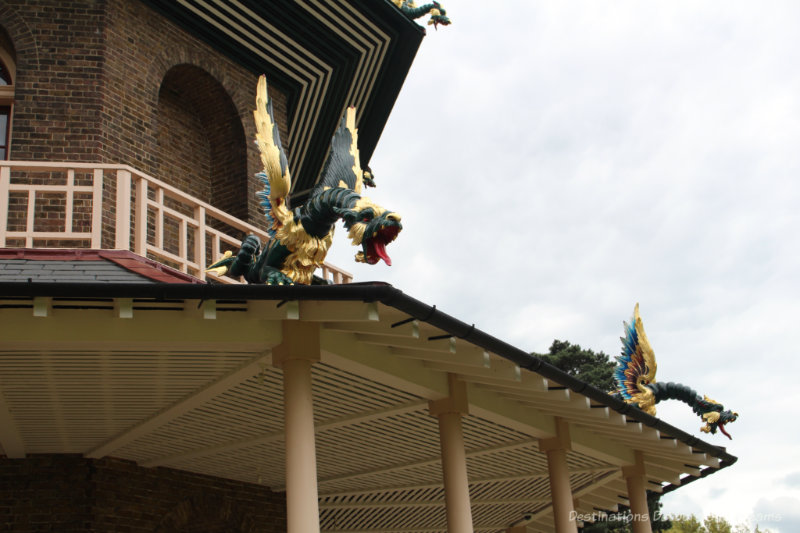 Dragon sculptures on the roof of the Great Pagoda at Kew