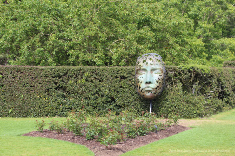 Sculpture of a face covered with leaves resting against a hedge at Kew Gardens. Leaf Spirit by Simon Gudgeon.