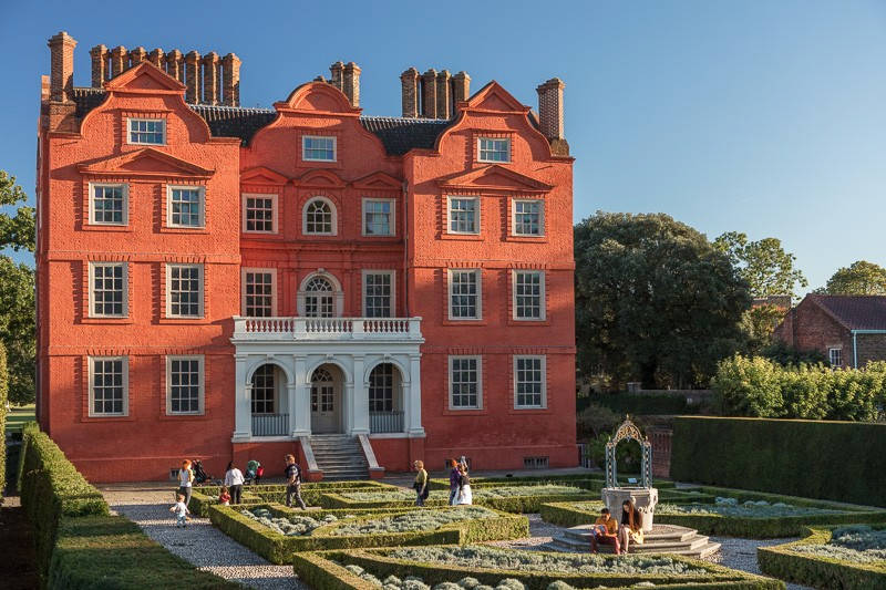 Red front with white porch entry of Kew Palace