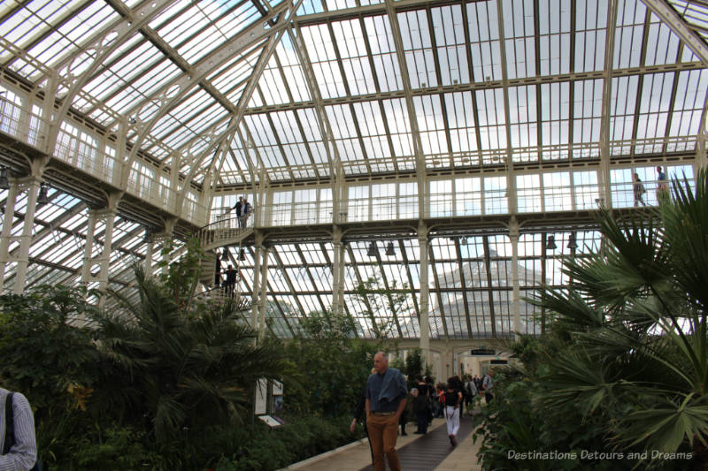 Glass walls and ceilings of the Temperate House and railing at second level