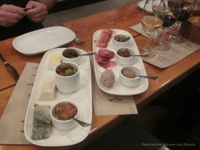 sample plates of cheese and cured meats at Salt Tasting Ropom
