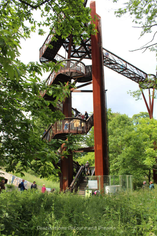 Steel twisting staircase leading up to the Treetop Walkway at Kew