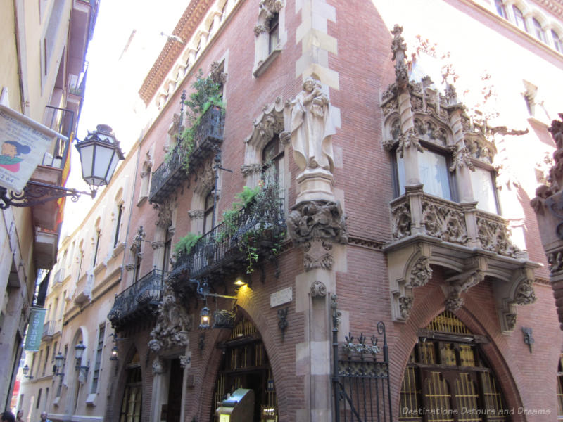 Ornate facade of Els Quatre Gats building in Barcelona