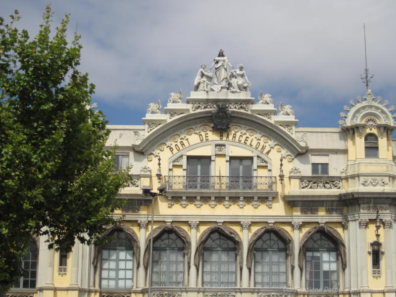 Decorative front of Barcelona Port building