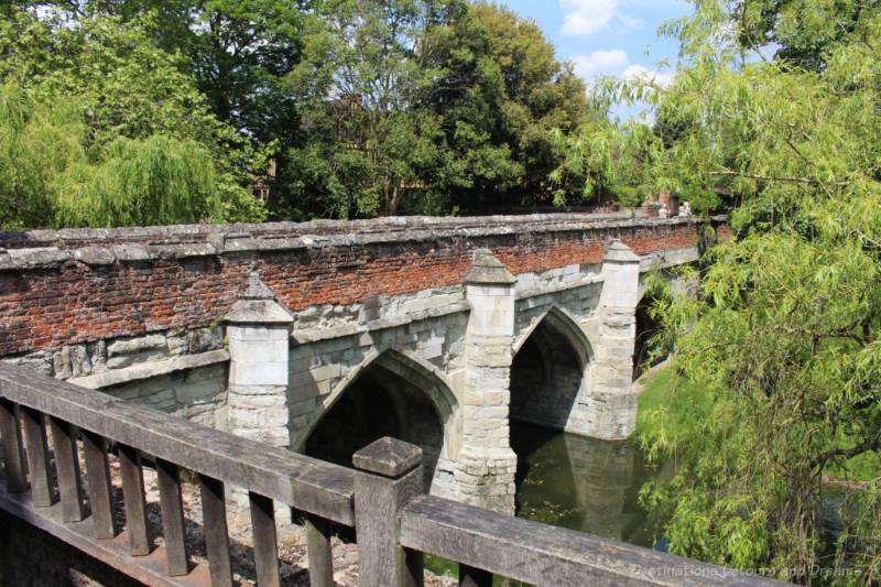 Stone fifteenth century bridge crossing moat at Eltham Palace