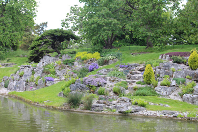 Rock garden on hillside at Eltham Palace