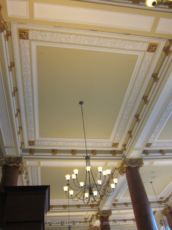 Coffered and gilded ceiling of Jane's Restaurant