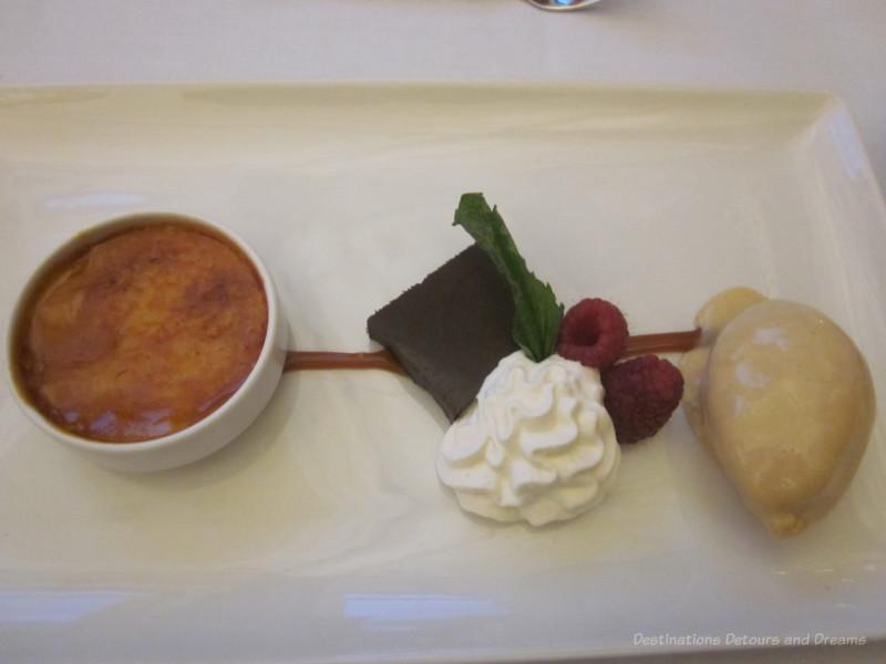 Dessert Trio of Birch Syrup Juniper Crème Brûlée, Chocolate Pâté, and Wild Rice Cinnamon Ice Cream
