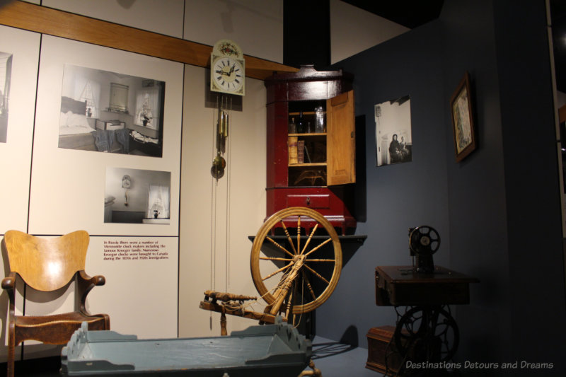 Display room of with spinning machine, sewing machine, and a Kroeger clock