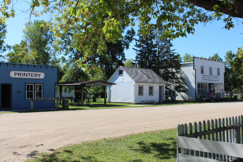 Three buildings along the main street of a recreated late 18th century Mennonite village