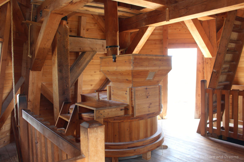 Grinding mechanism inside wooden windmill