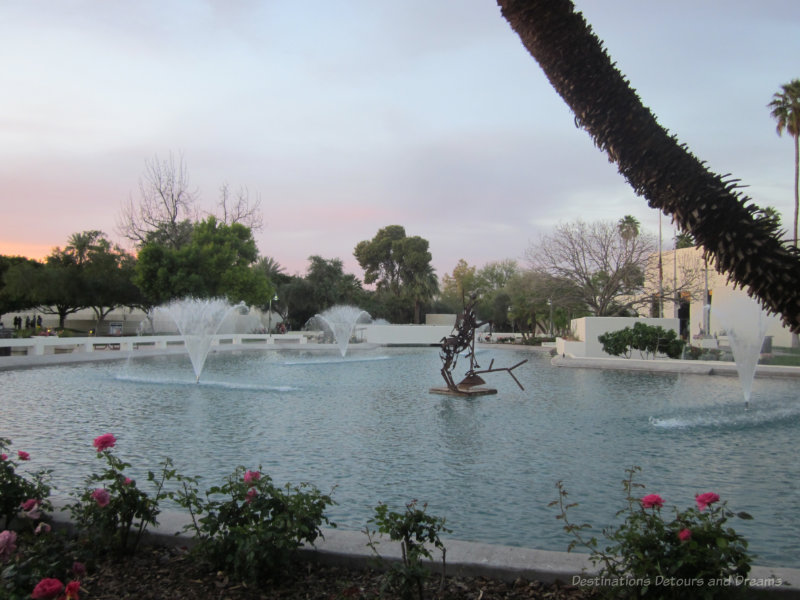 Sculpture in fountain at Civic Center Mall in Scottsdale