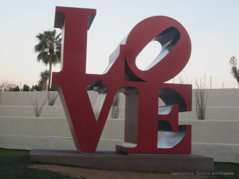 Love sculpture in Scottsdale - Red letters L and O atop V and E to spell love