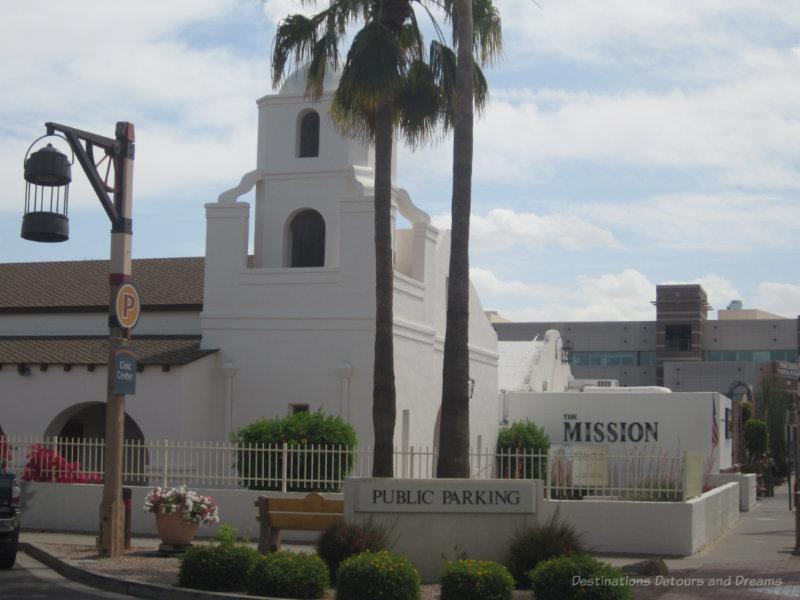 White adobe mission church in Scottsdale