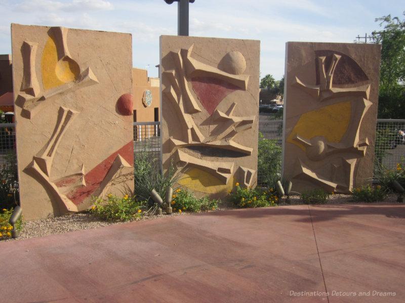 Totemic art panels on the Scottsdale Soleri Bridge