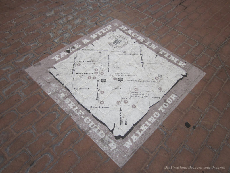 Walking tour map on the sidewalk of Old Town Scottsdale