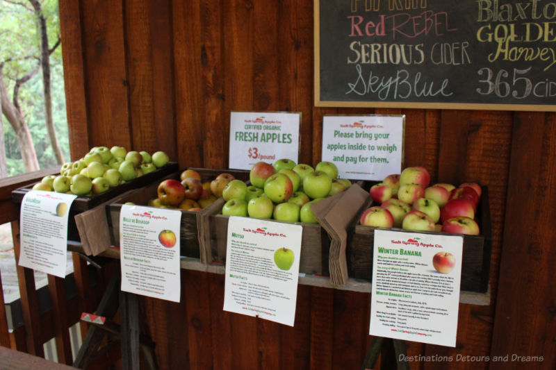 Boxes of apples for sale