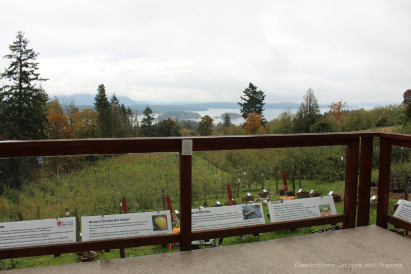 Deck at Ciderworks looking out over apple orchard to ocean and mountains beyond