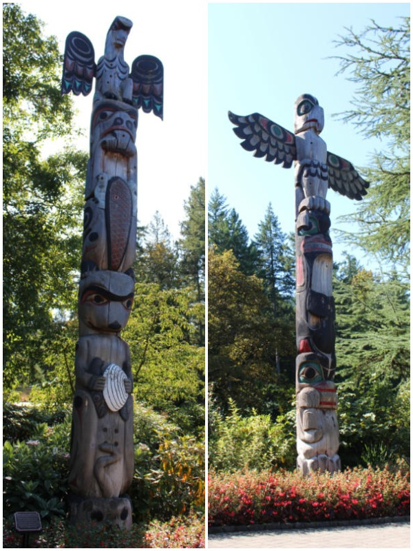 Two totem poles in Butchart Gardens