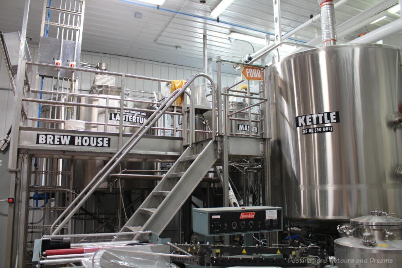 Stainless steel brewing equipment at Farmery brewery