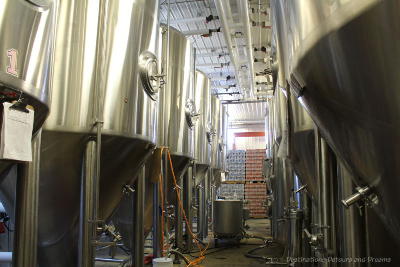 Stainless steel fermentation tanks at Farmery Brewery